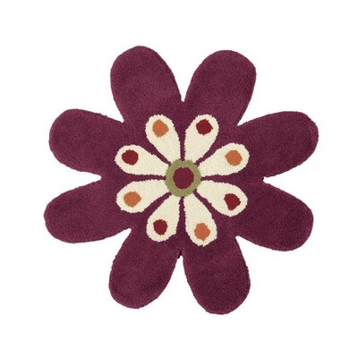Fantasia Hand-Tufted Wool Fuchsia Flower Area Rug Rug Size: Novelty 2 x 2