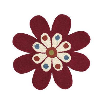 Fantasia Red Flower Area Rug Rug Size: 2 x 2