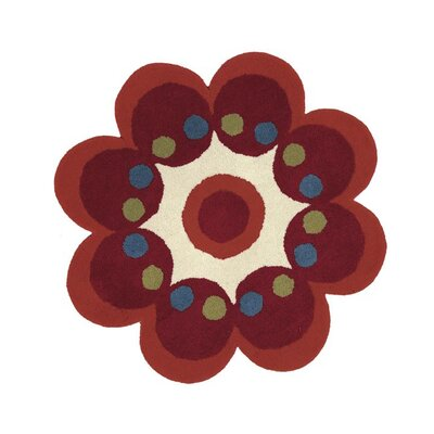 Fantasia Hand-Tufted Wool Red Flower Area Rug Rug Size: Flower 3 x 3