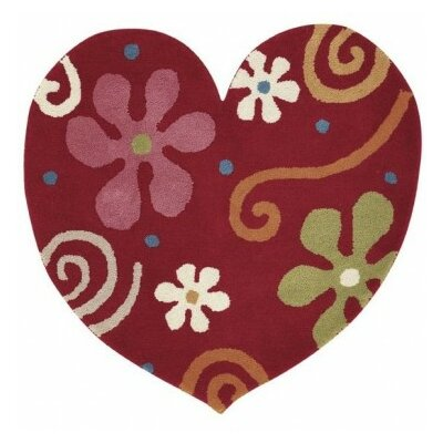 Fantasia Heart Hand-Tufted Wool Red Area Rug Rug Size: Novelty 3 x 3