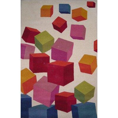 Fantasia Beige Block Area Rug Rug Size: 76 x 910