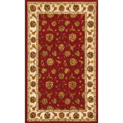 Jewel Red/Beige Rug Rug Size: 5 x 8