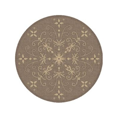 Piazza Brown Indoor/Outdoor Area Rug Rug Size: Round 53