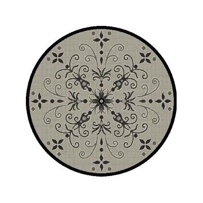 Veronica Black/Grey Indoor/Outdoor Area Rug Rug Size: Round 710