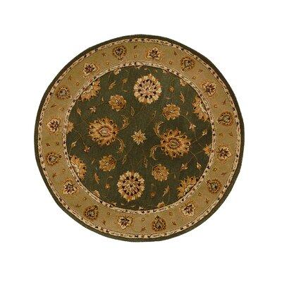 Jewel Green/Dark Linen Rug Rug Size: Round 53