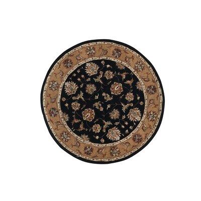Jewel Black/Camel Rug Rug Size: Round 53