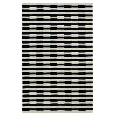 Aria Striped Tufted Wool Ivory/Black Area Rug Rug Size: Rectangle 8 x 11