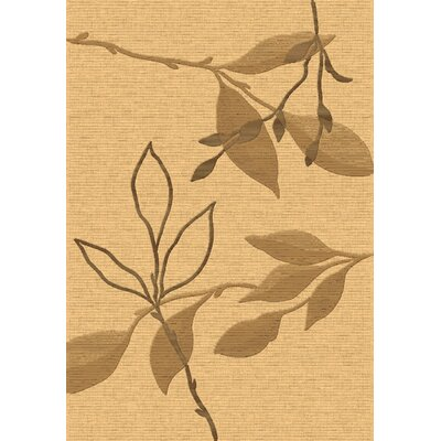 Eclipse Beige/Brown Floral Area Rug Rug Size: 53 x 77