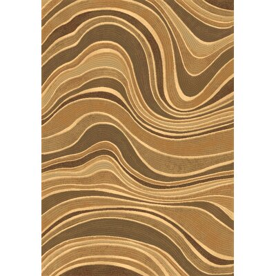 Eclipse Beige Wave Area Rug Rug Size: 67 x 96
