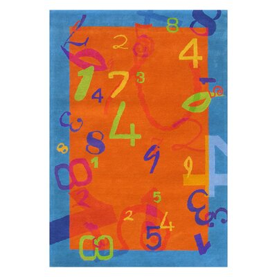 Fantasia Orange/Blue Number Area Rug Rug Size: 76 x 910
