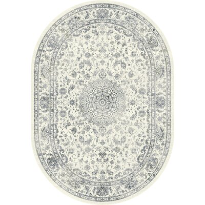 Ancient Garden Cream Area Rug Rug Size: Oval 53 x 77