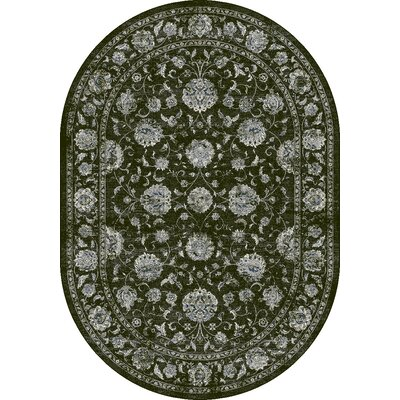 Ancient Garden Charcoal/Silver Area Rug Rug Size: Oval 67 x 77