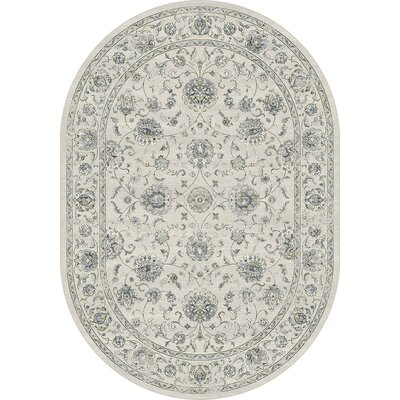 Ancient Garden Cream Area Rug Rug Size: Oval 27 x 47
