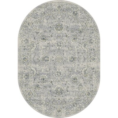 Attell Oval Silver/Gray Area Rug Rug Size: Oval 53 x 77