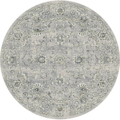 Attell Oval Silver/Gray Area Rug Rug Size: Round 53