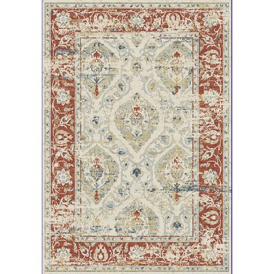 Essence Ivory/Red Area Rug Rug Size: 53 x 77