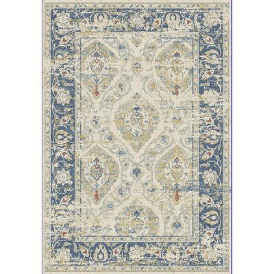 Essence Ivory/Blue Area Rug Rug Size: 53 x 77