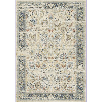 Essence Ivory/Light Blue Area Rug Rug Size: 53 x 77