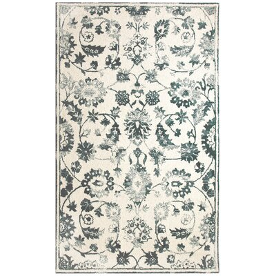 Avalon Hand-Tufted Ivory/Teal Area Rug Rug Size: 5 x 8