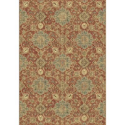 Regal Rust/Blue Area Rug Rug Size: Rectangle 2 x 35