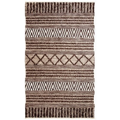 Heirloom Hand-Woven Charcoal/Ivory Area Rug Rug Size: 2' x 4'