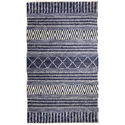 Heirloom Hand-Woven Blue/Ivory Area Rug Rug Size: 5 x 8