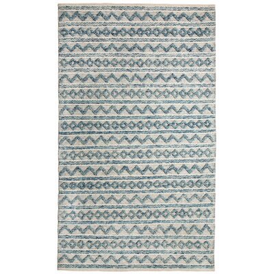 Heirloom Hand-Woven Teal/Ivory Area Rug Rug Size: 5 x 8
