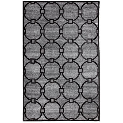 Ritz Hand-Woven Gray/Black Area Rug Rug Size: 5 x 8
