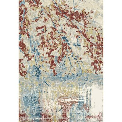 Rosario Red/Beige Area Rug Rug Size: Rectangle 92 x 1210