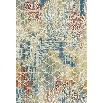 Prism Beige/Blue Area Rug Rug Size: Rectangle 36 x 56
