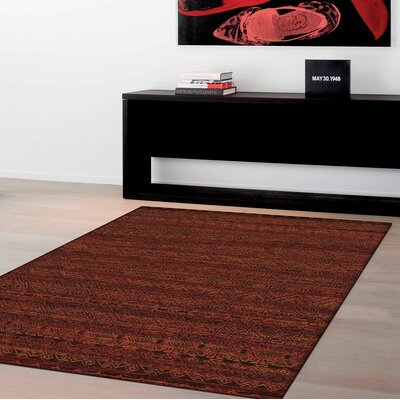 Imperial Red Area Rug Rug Size: Rectangle 53 x 77