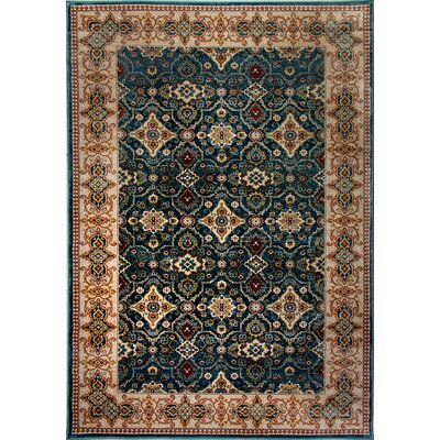 Venice Beige/Blue Area Rug Rug Size: Rectangle 53 x 77