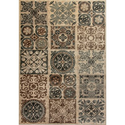 Treasure II Beige/Gray Area Rug Rug Size: 92 x 1210