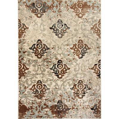 Treasure II Camel/Blue Area Rug Rug Size: 36 x 56