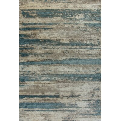 Treasure II Cream/Blue Area Rug Rug Size: 53 x 77