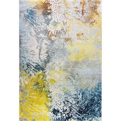 Fusion Blue/Yellow Area Rug Rug Size: Rectangle 53 x 77