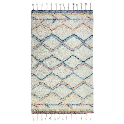 Mayer Rectangle Hand-Woven Beige/Blue/Red Area Rug Rug Size: 5 x 8