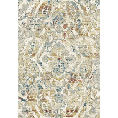 Chipman Ivory/Green/Blue Area Rug Rug Size: 53 x 77