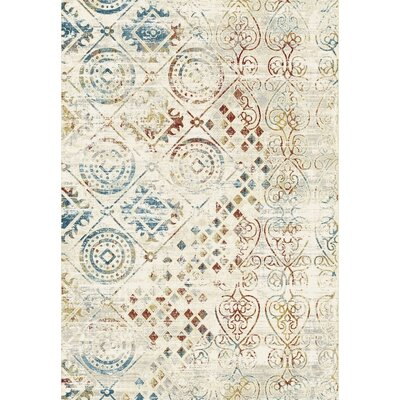 Prism Ivory/Blue/Red Area Rug Rug Size: 67 x 96
