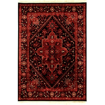 Crown Red/Black Area Rug Rug Size: 53 x 77
