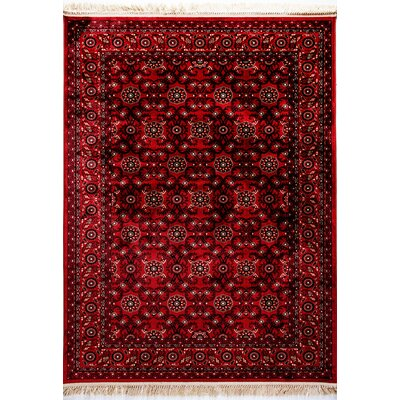 Crown Red Area Rug Rug Size: 53 x 77