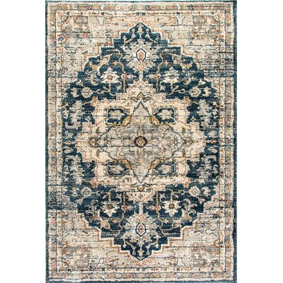 Evolution Beige/Blue Area Rug Rug Size: Rectangle 53 x 77