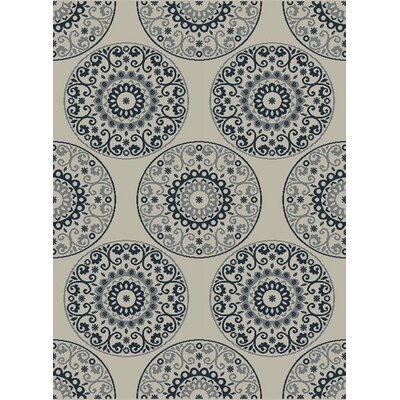 Piazza Beige/Blue Indoor/Outdoor Area Rug Rug Size: 2 x 37