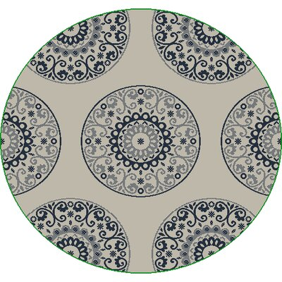 Piazza Beige/Blue Indoor/Outdoor Area Rug Rug Size: Round 53