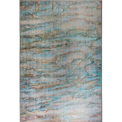 Illusion Turquoise Area Rug Rug Size: Rectangle 53 x 77