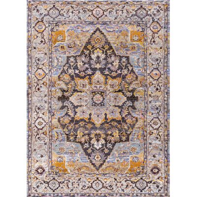 Signature Blue/Tan Area Rug Rug Size: Rectangle 53 x 77