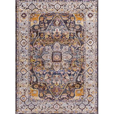 Signature Navy/Tan Area Rug Rug Size: Rectangle 53 x 77