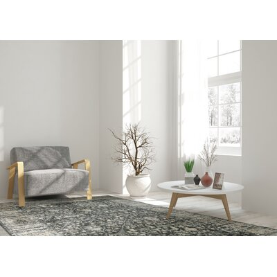 Essence Dark Gray/Ivory Area Rug Rug Size: 5'3