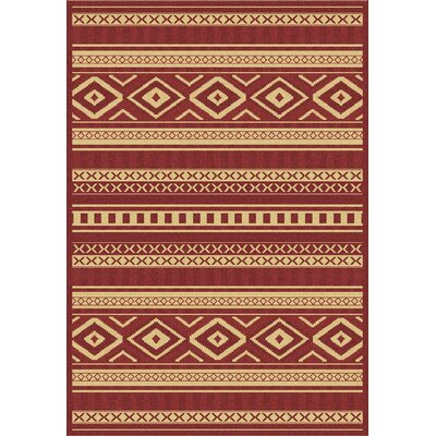 Piazza Red/Gold Indoor/Outdoor Area Rug Rug Size: 53 x 77