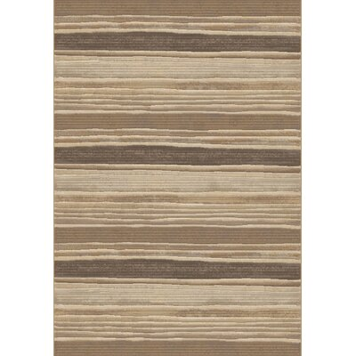 Eclipse Brown/Beige Stripe Area Rug Rug Size: Rectangle 53 x 77